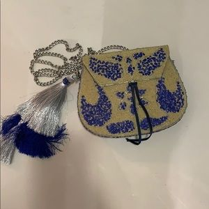 Sam Edelman Blue and Beige Small Beaded Purse
